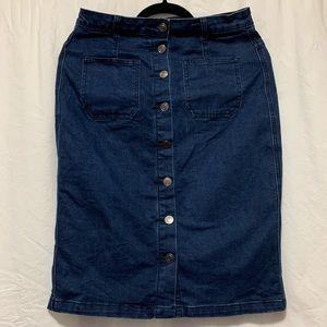 Super stretchy dark denim pencil skirt